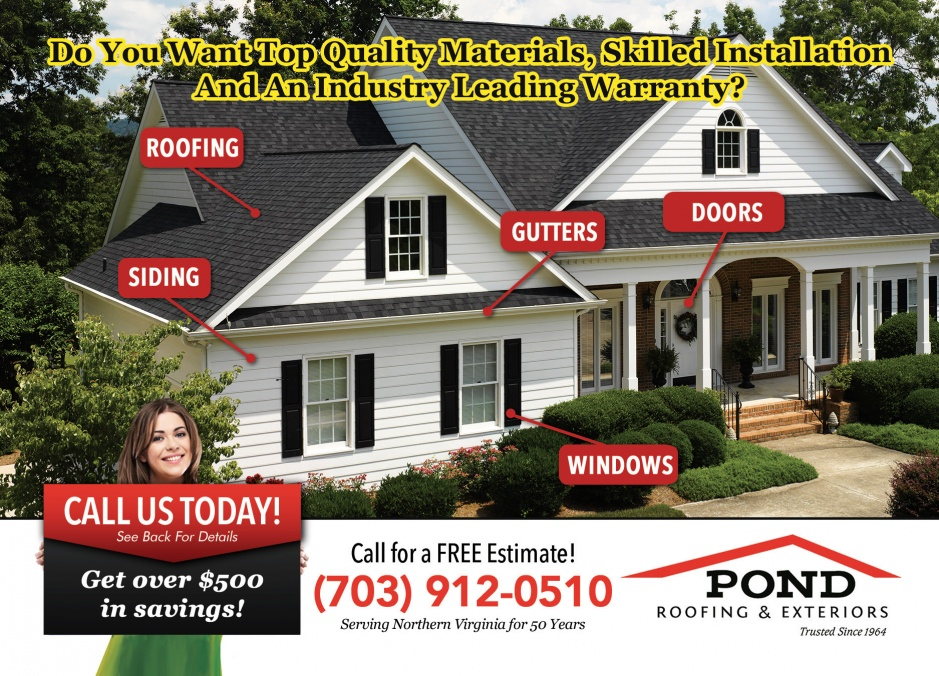Pond roofing and exteriors for Northern virginia roofing and exteriors